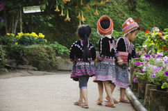 Children Ethnic Hmong wear costume traditional and playing with friends stock image