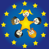 Children in EU. Symbol with stars stock illustration