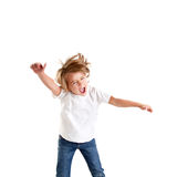 Children excited kid epression with winner gesture. Screaming happy Royalty Free Stock Photography