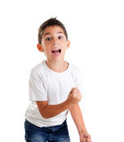Children excited kid epression with winner gesture. Screaming happy Royalty Free Stock Photos