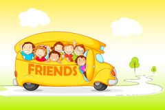 Children on Excursion for Friendship Day. Vector illustration of children on Excursion for Friendship Day Royalty Free Stock Photography
