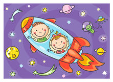 Children exploring space. No gradients vector illustration