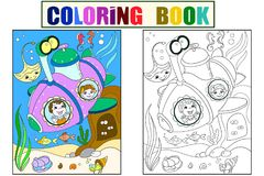Children exploring the underwater world in a submarine color pages for children cartoon vector. Coloring, black and. Children exploring the underwater world in a royalty free illustration