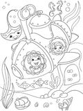 Children exploring the underwater world in a submarine coloring pages for children cartoon vector illustration. Black and white stock illustration