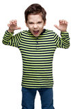 Children. Expressions.  little boy intimidating somebody Stock Images