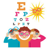 Children at the eye doctor. The sun as an eye doctor examining children using eye chart.Vector illustration cartoon Royalty Free Stock Image