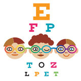 Children at the eye doctor. Stock Photography