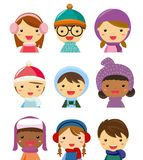 Children face collection, winter clothes Stock Photography