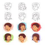 Children face expressions in stroke and flat style. Vector illustration. Royalty Free Stock Photos