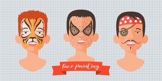 Children face painting set of vector illustrations. Faces with tiger, spider superhero, pirate makeup painted for kids party Royalty Free Stock Photo