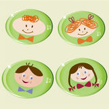 Children faces. Set of happy children faces glossy icons - vector illustration royalty free illustration