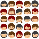 Children faces clip art set Royalty Free Stock Photography