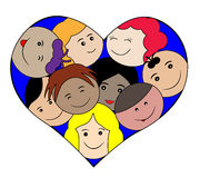 Children faces in a heart-love concept Royalty Free Stock Image