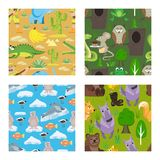 Children fairy-tale seamless pattern set vector illustration. Tropical conditions. Hunter with crocodile, elephant stock illustration