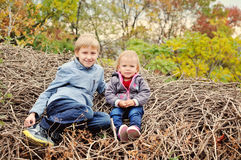 Children in fall Royalty Free Stock Photography