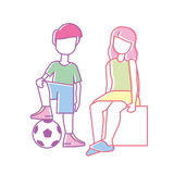 Children family, brother and sister. Line art style Stock Image