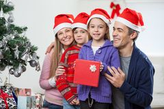 Children And Family With Christmas Gift Stock Photos