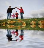 Children in family house. Autumn. river Royalty Free Stock Image