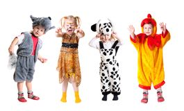 Children in fancy dress. Isolated on white Stock Photos