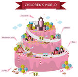 Children fantasy world map of imagination in wedding cake shape. Infographic with candy and toy decorations template design in  background with wording, create Royalty Free Stock Photos