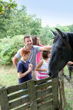 Children and farm animals. Parents and children petting horses in countryside stock photos