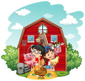 Children and farm animals Royalty Free Stock Photography