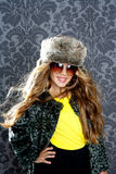 Children fashion blond girl with winter coat Stock Images