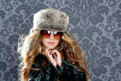 Children fashion blond girl winter coat Stock Photos