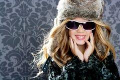 Children fashion blond girl winter season Royalty Free Stock Photo