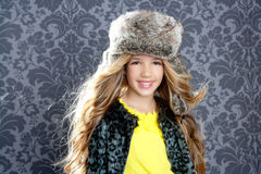 Children fashion girl with winter coat Stock Image