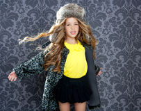 Children fashion girl winter leopard coat Stock Photo