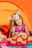 Children fashion little girl in camping tent Royalty Free Stock Photos