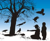 Children fed birds. Illustration silhouettes of birds who are fed in winter children Royalty Free Stock Photography