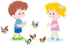 Children feed small birds Royalty Free Stock Photography