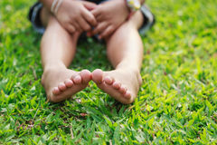 Children feet in the park Royalty Free Stock Photography