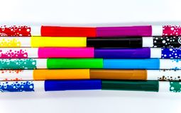 Children felt pens in 12 colors. Isolated on white stock images