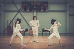 Children on fencing training Royalty Free Stock Photos