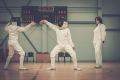 Children on fencing training Stock Image