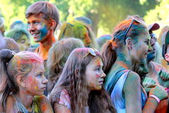 Children at the festival of Holi in the Dnieper. Royalty Free Stock Photography