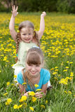 Children in field with flower. stock photos