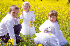 Children in the field with pet rabbit Stock Photography