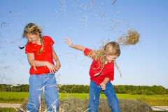 Children fighting. Two happy and smiling farm girls dressed in red shirts and bluejeans throwing hay at each other while standing on straw bales stock image