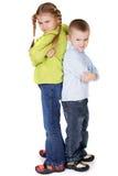 Children fighting. Preschool children playing or fighting Stock Image