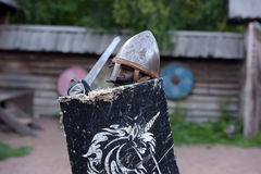 Children fighting with swords in medieval dress Stock Photo