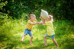 Children fighting together with pillows in a sunny summer garden Stock Images