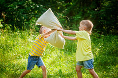 Children fighting together with pillows in a sunny summer garden Royalty Free Stock Images