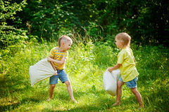 Children fighting together with pillows in a sunny summer garden Stock Photo