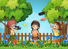 Children filming little girl in the park. Illustration Royalty Free Stock Photos