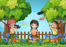 Children filming little girl in the park stock illustration