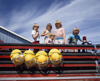 Children on fire engine Stock Images